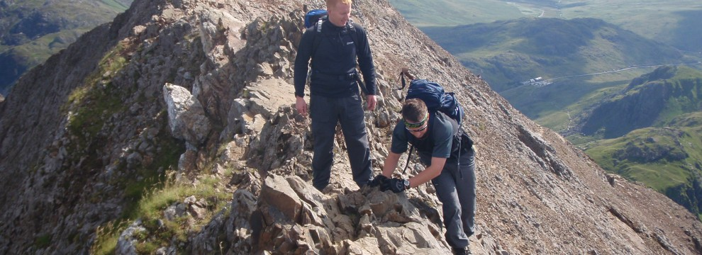 Grade 1 Scrambling on Crib Goch, Snowdonia, North Wales