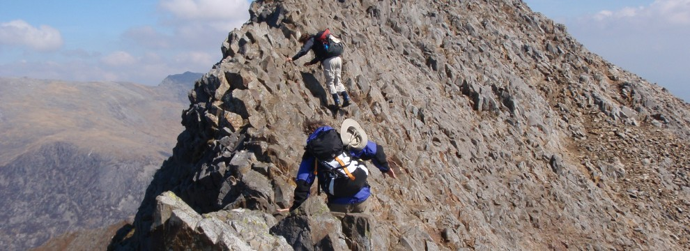 Traversing the knife-edged ridge of Crib Goch
