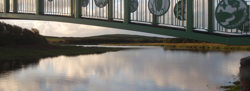 The bridge crossing the Aber Alaw Estuary