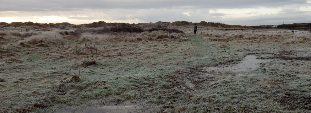 Frosty dunes and marshes at Aberffraw, Anglesey