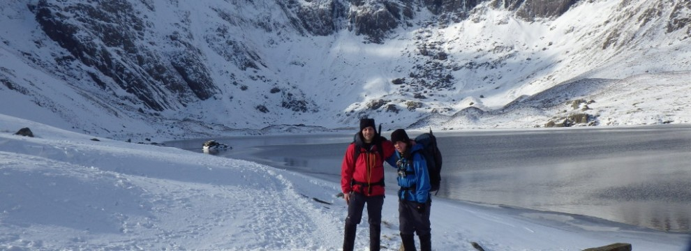 Winter skills and Walking Cwm Idwal Snowdonia