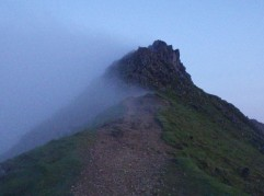 The cloud being to clear as we approach Carnedd Ugain