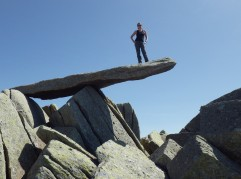 The famous Cantilever stone on the summit of Glyder Fawr