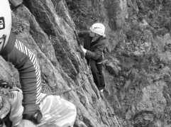 Sarah finishing the first Pitch of Crackstone Rib