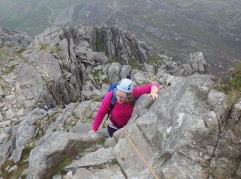 Scrambling up the upper part of the North Ridge of Tryfan