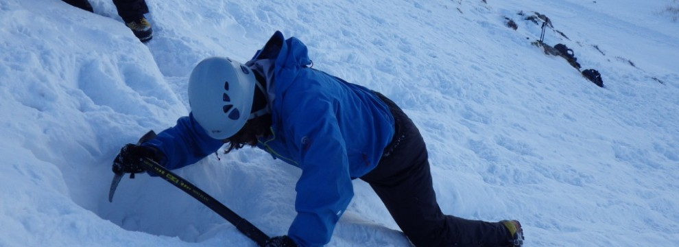 Winter skills ..practicing ice axe arresting. An essential skills to have before adventuring into mountains in winter