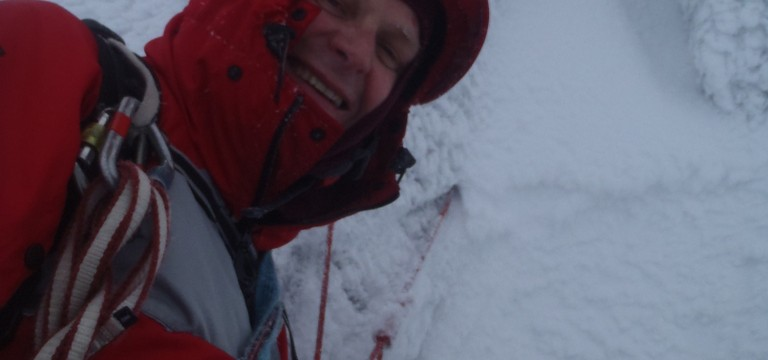 smiling at the belay ledge...can