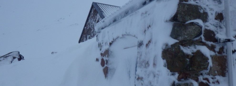 The CIC hut snowed in at the foot of Ben Nevis