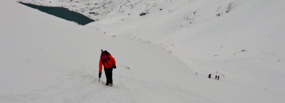 The final few steps on to the ridge