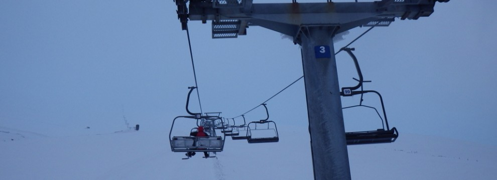 Using the ski lift to get in fast