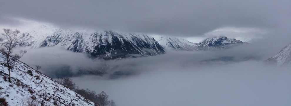 Walking in to the Lairig Ghur with the cloud trapped in the base