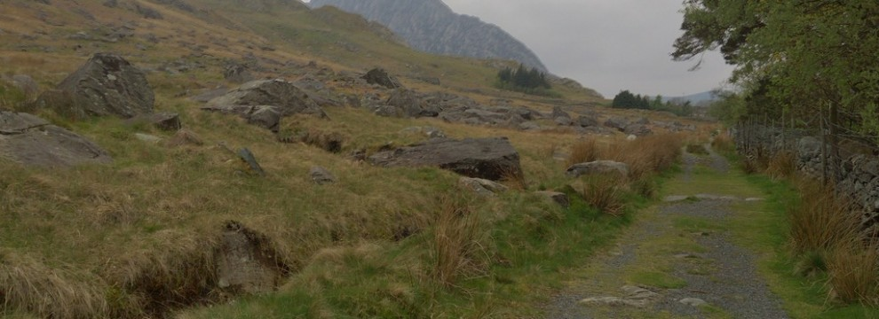 Walking through the Ogwen Valley towards the mountain Tryfan