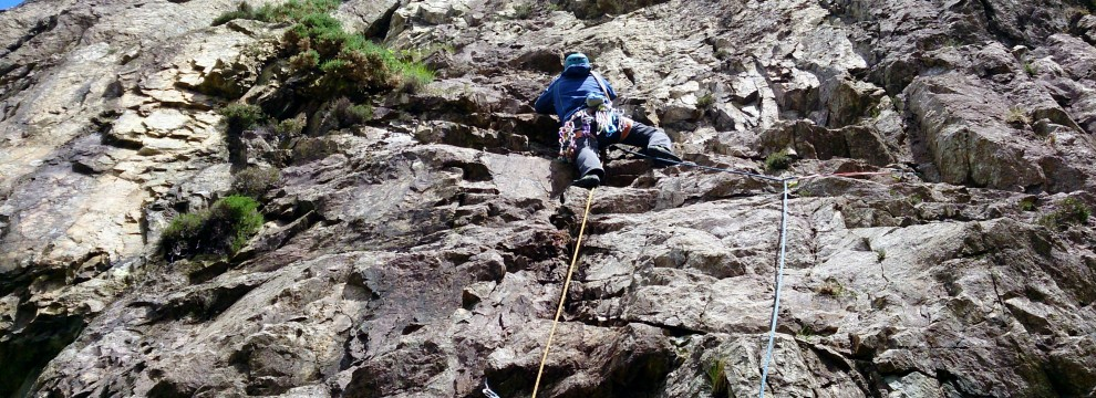 Just below the crux
