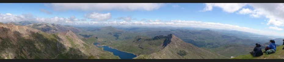 The view across Snowdonia from the summit of Snowdon. Looking across to the Carneddau range of mountains