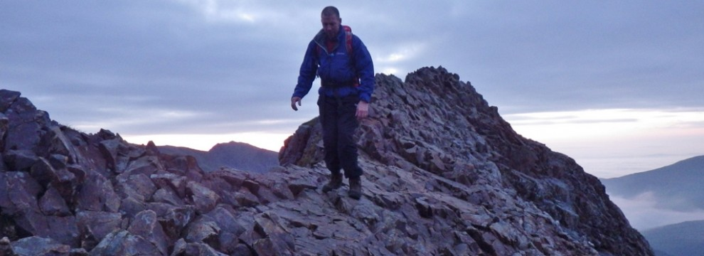 Greg confident on the Crib Goch ridge