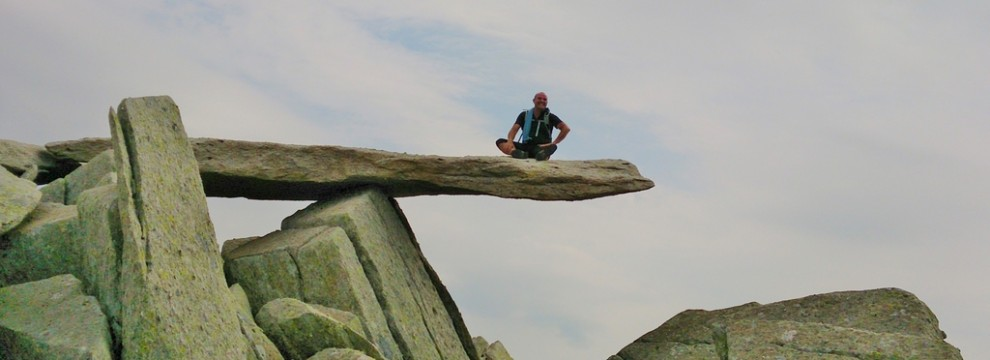 Enjoying the views from the Cantilever stone on the 14 peaks