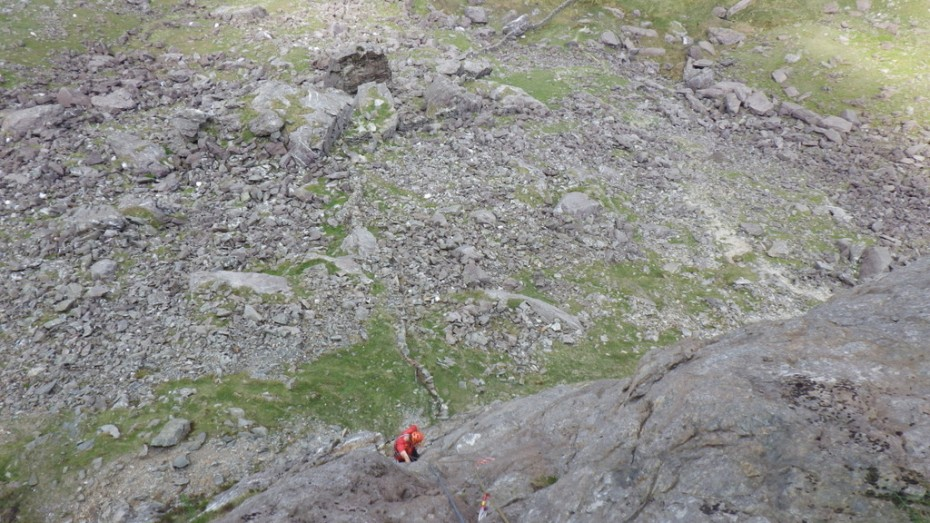 An exposed steep slab Western Slabs Dinas Mot Snowdonia
