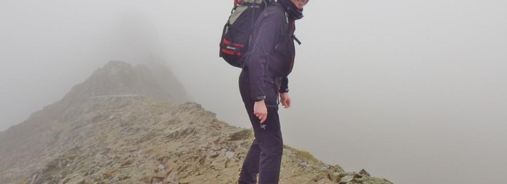 Starting the main Crib Goch Ridge A bit misty