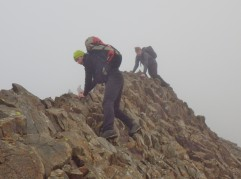Steady footwork required on the main Crib Goch ridge