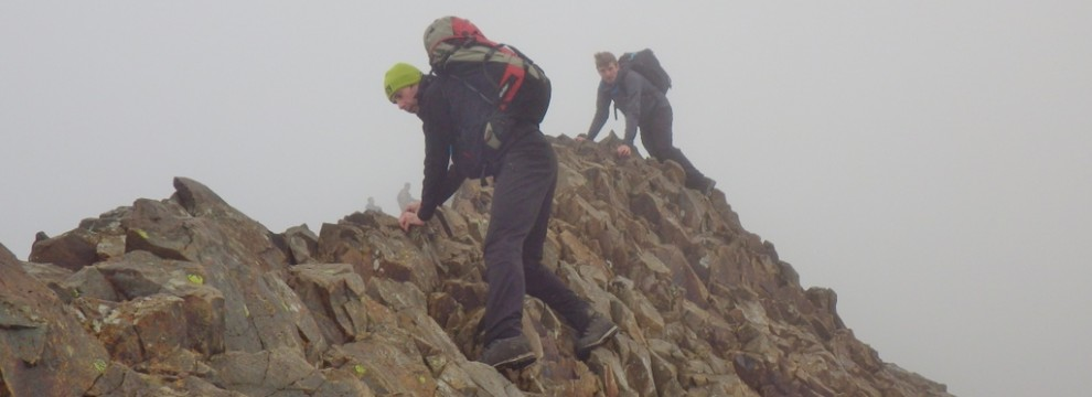 Steady footwork required on the main Crib Goch ridge