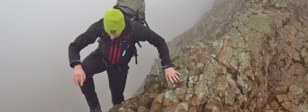 The mist covering the shear exposure of Crib Goch
