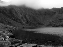 Cwm Idwal with Idwal slabs in the distance well known for rock climbing on