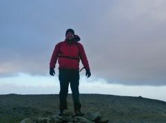 Dylan on the summit of Carnedd Llewelyn