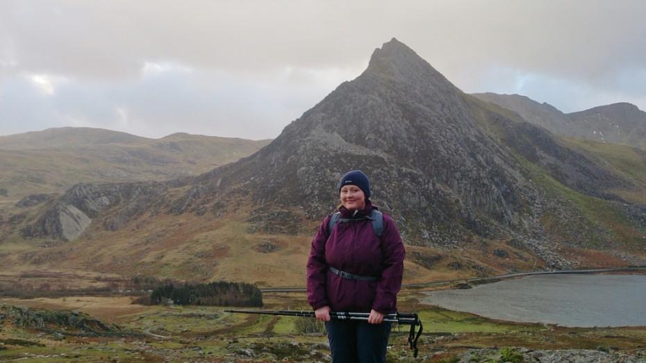 Lindsey walking up into Cwm Lloer, Carneddau Snowdonia