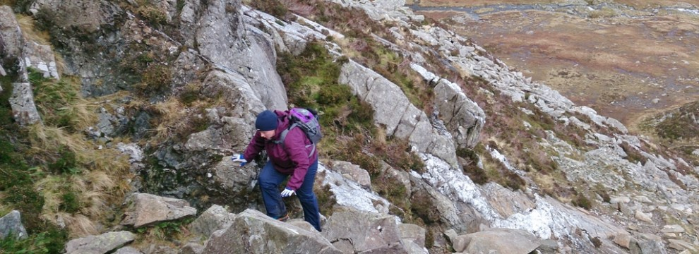 Lindsey starting the east ridge of Pen yr Ole Wen
