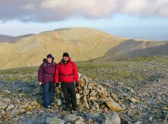 Lindsey and Dylan looking relaxed having just summited Carnedd Dafydd