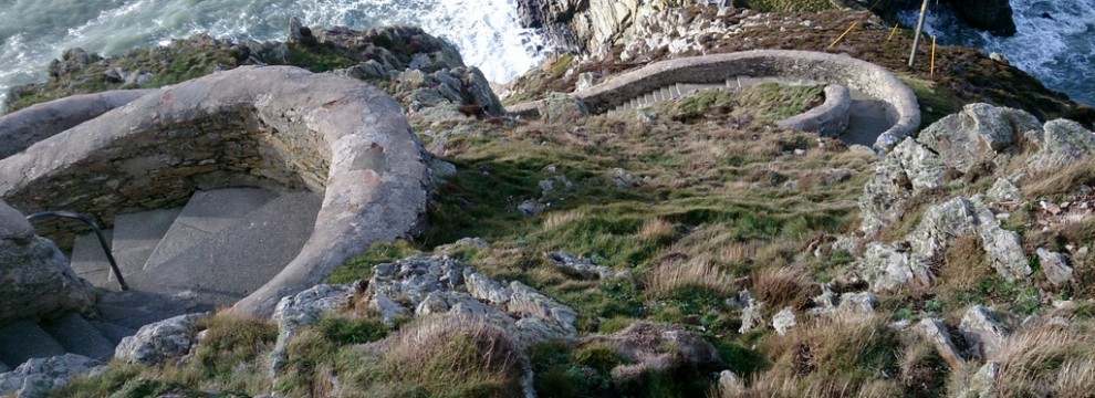 The curvy steep steps down to South Stack lighthouse