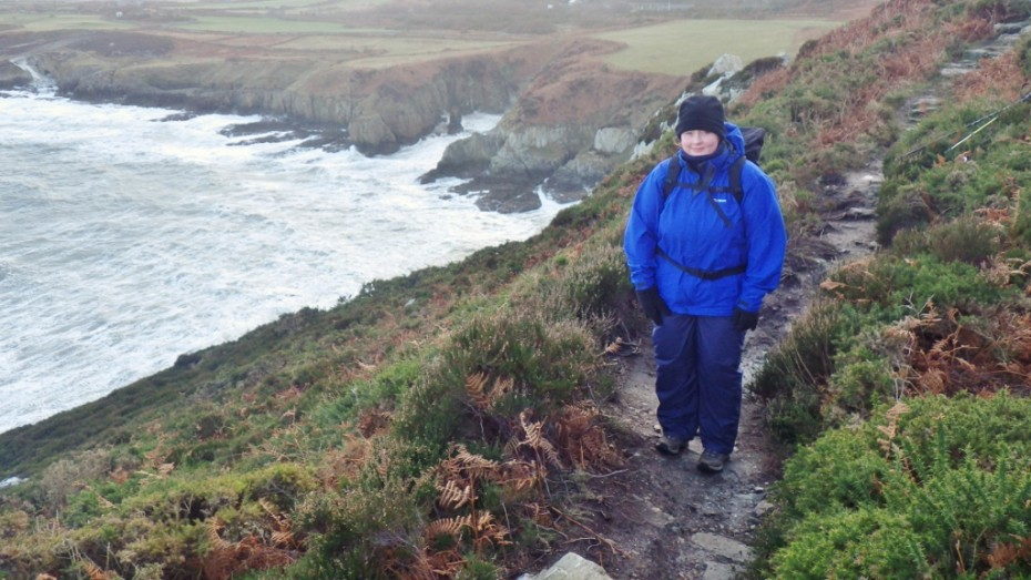 Lindsey enjoying the walk along the Anglesey Coastal Path North Stack high path
