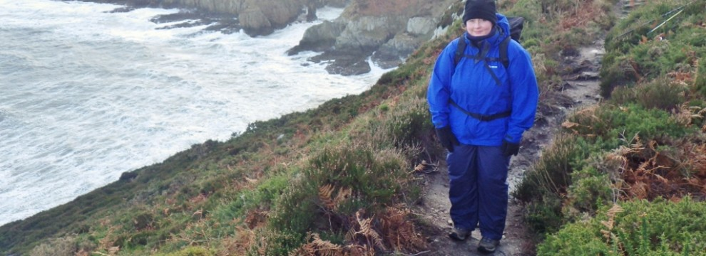 Lindsey enjoying the walk along the Anglesey Coastal Path North Stack high path