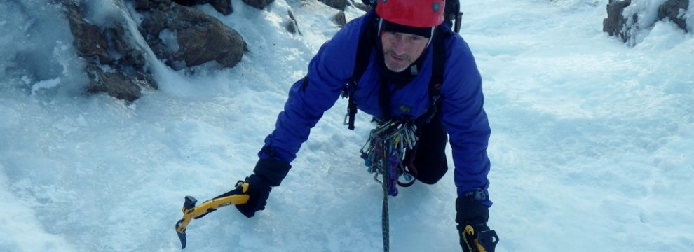 Ice climbing in the Cairngorms.  A good day out in Coire An t-Sneachda above  Aladdin