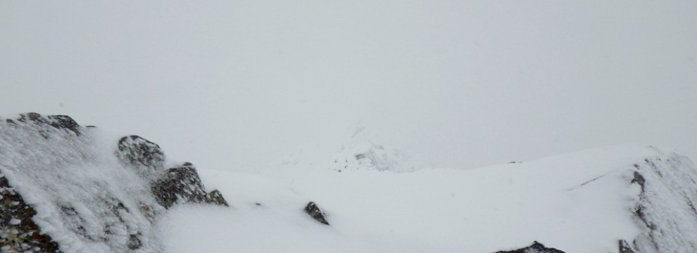 The Horizontal ridge of Crib Goch in winter conditions