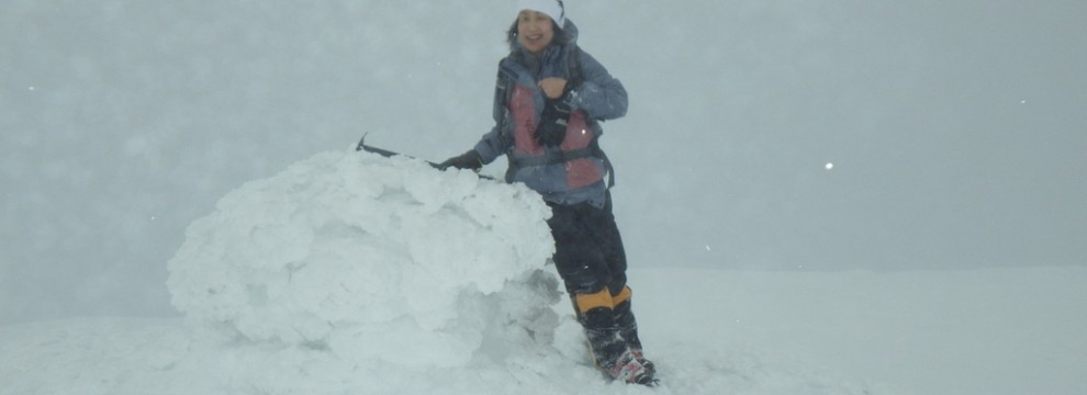 Summit of Ben Nevis in full winter conditions where compass work is important