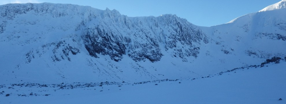 Winter walking in the Northern coiries Cairngorms Scotland with excellent views