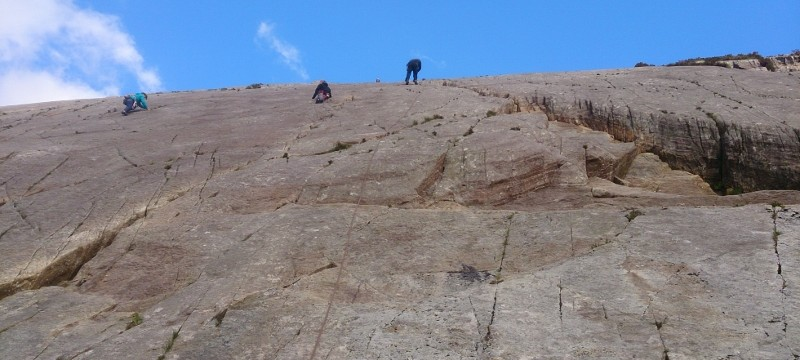 Abseiling in Snowdonia. Dylan on his first long 200ft abseil