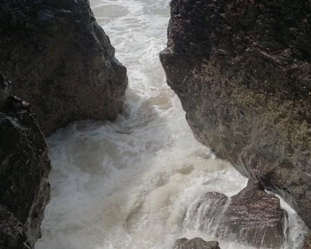 Anglesey Coastal Path  Llanddwyn Island the sea crashing in
