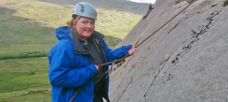 Lindsey trying Abseiling for the first time on Tryfan Bach