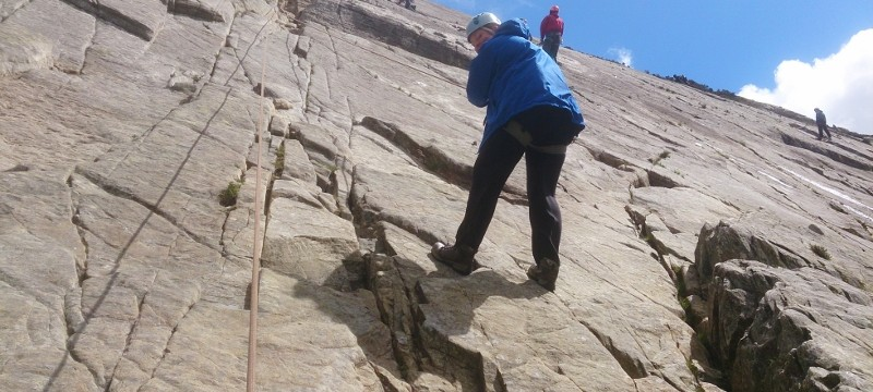 Lindsey rock climbing in Snowdonia. She was very relaxed on the lower off