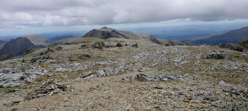 Welsh 3000s Glyders walking across the plateau