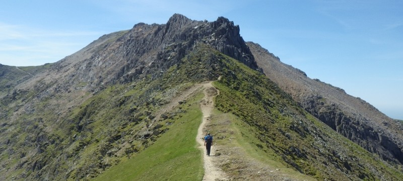 Welsh 3000s preparation crossing the great col of the ridge of Crib Goch