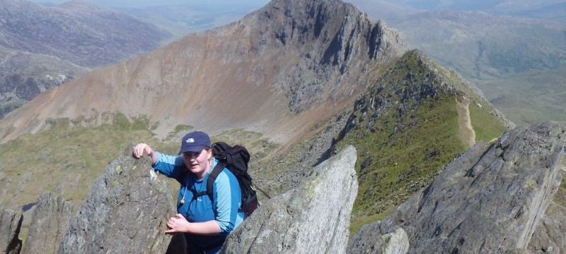 Welsh 3000s preparation nearly at the end of the fine ridge of Crib Goch in Snowdonia