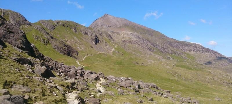 Welsh 3000s preparation on Crib Goch. The approach to Crib Goch ridge Snowdonia