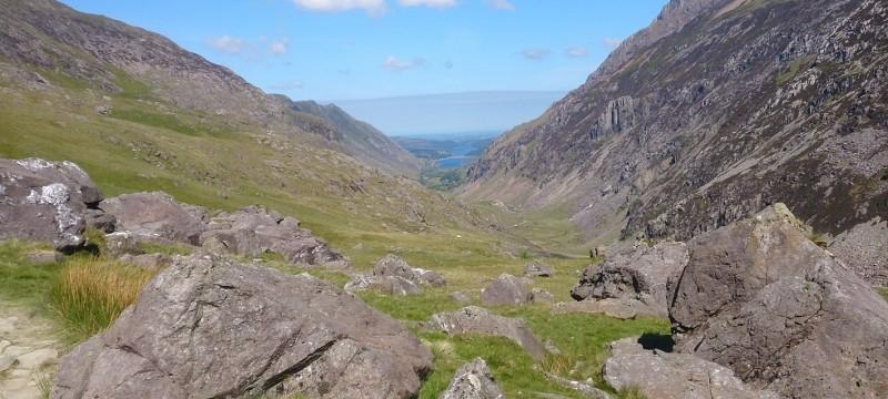 Welsh 3000s preparation on Crib Goch. Looking down Llanberis Pass