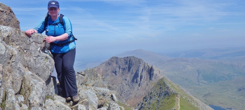Welsh 3000s preparation on Crib Goch. Lindsey finding it easy now