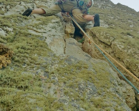 Just making the moves pass the crux on the crack