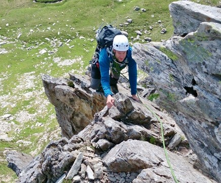 Rob negotiating the rock pinnacles on Cneifion Arête