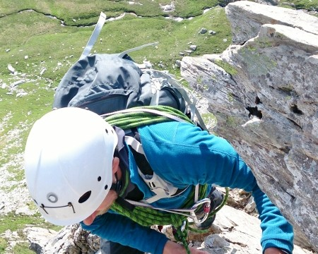 Rob moving around the boulders on Cneifion Arête